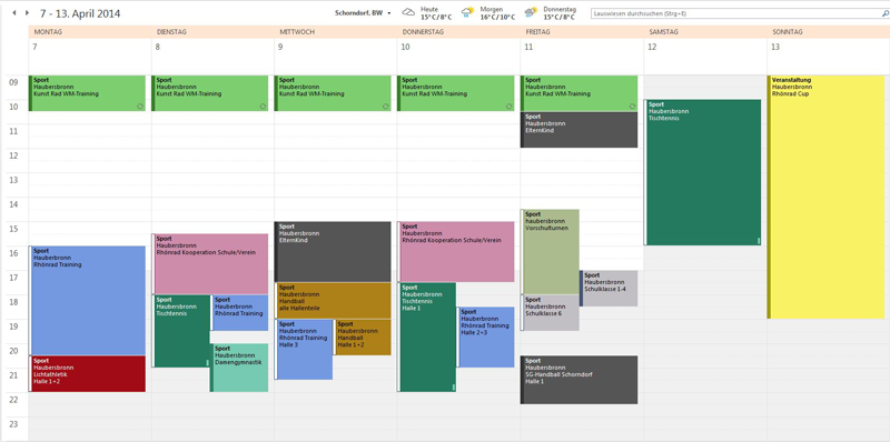 Outlook Belegzeitenplanung Lauswiesenhalle Haubersbronn