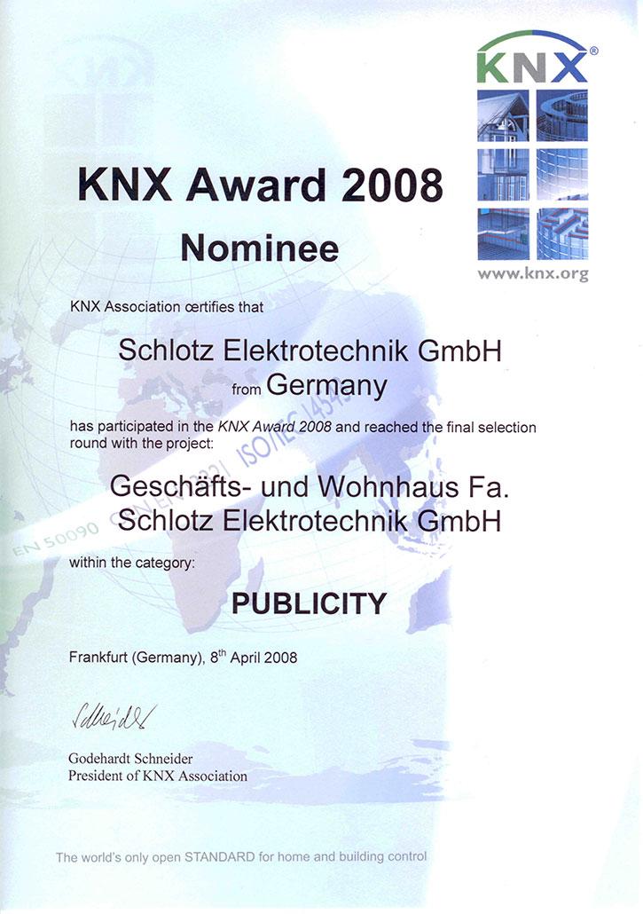 Urkunde KNX-Award